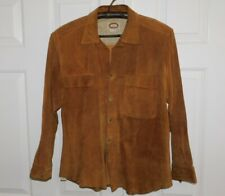 Vtg Original 1980s BANANA REPUBLIC Button Down Brown SUEDE Leather Shirt Men's L