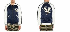 NEW $178 AVIREX NAVY WHITE EMBROIDERED EAGLE VARSITY BOMBER JACKET sz M