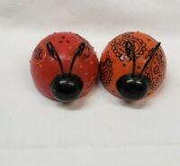 Vintage Salt and Pepper Shakers Lady Bug Beetle Orange and Red