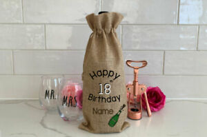 Personalised 18th 21st 30th 40th 50th 60th 70th Birthday Wine Bottle Gift Bag