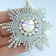 "3.15"" Wedding Sunflower Brooch Pin Rainbow Austrian Crystal Pendant 06014C2"