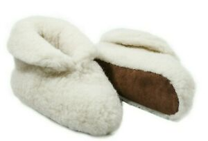 MEN 100% OFF WHITE  SHEEP  MERINO WOOL BOOTS HOUSE SLIPPERS SUEDE SOLE
