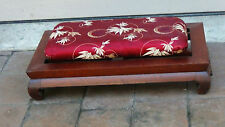 Antique Chinese Rosewood Carved Foot Stool,Headrest With Silk Pillow #1