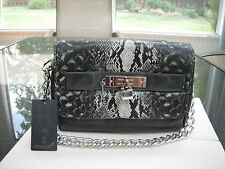 Imoshion Veda Grey Vegan Leather/Poly Snakeskin Bag Chain Accents Retail $100.