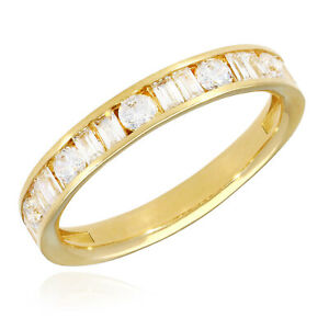 1CTW Round Baguette Simulated Diamond 14K Yellow Gold Wedding Band Ring