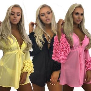 Womens Swimwear Tassel Kaftan Bikini Cover Up Summer Beach Dress Sarong Kimono