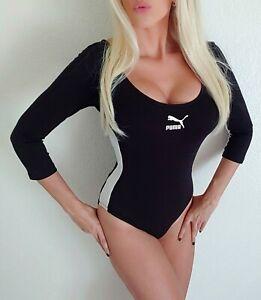 PUMA Classic Bodysuit Black white athletic stripe sexy soft stretch M