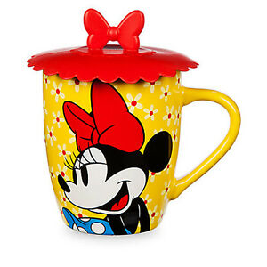 Authentic Disney Minnie Mouse Ceramic Coffee Mug with Lid Brand New