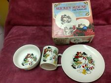 MICKEY MOUSE/Donald Duck 3PC CHILDREN'S SET MADE IN JAPAN WITH ORIGINAL BOX