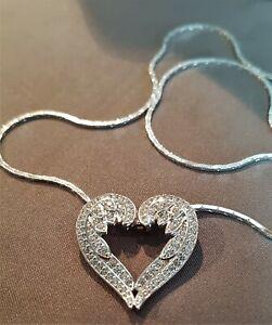 SILVER ANGEL WINGS HEART PENDANT & CHAIN DIAMONIQUE NECKLACE. ref:xaed%