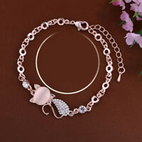 Fashion Cat Pendant Chain Bracelet Women Charm Opal Rhinestone Bangle Jewelry LE