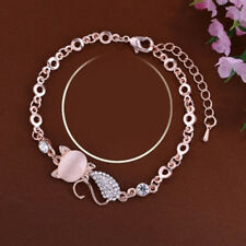 Women Crystal Rhinestones Bangle Gold Cat Bracelet Bangle Chain Opals Jewelry S