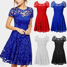 Plus Size Women Floral Lace Dresses Short Sleeve Party Mini Wedding Cocktail New