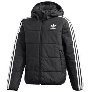 Adidas Trefoil 3S Padded Jacket Children's Winter Parka Quilted Black/White