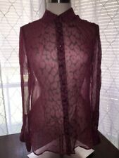 EQUIPMENT FEMME Small Pink/Purple Sheer Silk Patterned Button Down