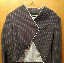 Silk Lined, Cropped, Edgy, Grey Linen/Cotton Pin-Striped Blazer - Size 8