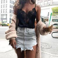 Women's Lace Vest Sleeveless Crop Tops Ladies Loose Tank Tops Blouse T-Shirt