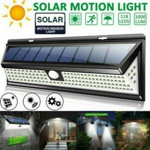 LED Solarbetriebene PIR Bewegungssensor Draussen Sicherheitsleuchte Lampe Garten