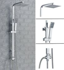 Large Waterfall Chrome Square Dual Shower Head Riser Rail Luxury Bathroom Set