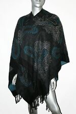 Oversized Cape Shawl Womens One Size Wrap Boho Trendy Blue/Gray Sweater Poncho