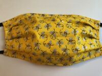 Adult Bumble Bee Yellow Adjustable Handmade Cotton Fabric Face Mask Washable