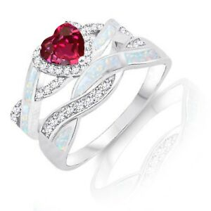 Infinity Celtic Ruby Red White Opal w Inlay CZ Engagement Silver Ring Set