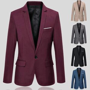 Men's Suit Blazer Jacket Coat Tops Dress Business Work One Button Formal Casual&