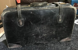 1920s Leather Travel Train Suitcase Brown  Latches Straps Gladstone Mother Pearl