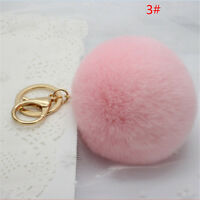 Rabbit Fur Ball PomPom Cell Phone Car Keychain Pendant Handbag Pink Key R Gift