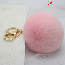 Rabbit Fur Ball PomPom Cell Phone Car Keychain Pendant Handbag Pink Key Ring Hot