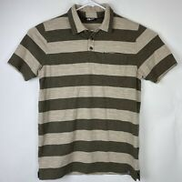 The North Face Men's Brown Striped Short Sleeve Polo Shirt Size M Chest Pocket