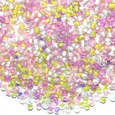 SB1954 Spring Flowers Pink & Yellow 6/0 4mm Glass Seed Bead Premium Mix 1oz