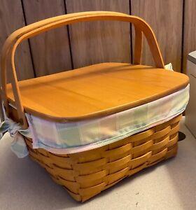 Vintage 2001 LONGABERGER Picnic Cake Pie Basket Cloth liner, protector riser lid