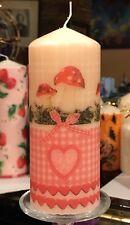 Paese Fall (funghi) Design a mano decorato pilastro candela 50hrs 15x6cm