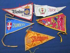 5 fanions drapeaux Tissus brodé Verdun Chambéry Strasbourg Haute-Savoie Nice