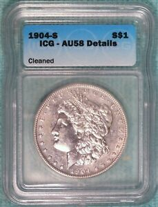 1904-S AU-58 Details Morgan Silver Dollar - Almost Uncirculated