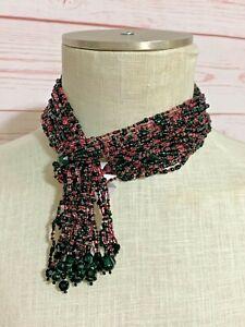 "NEW Joan Rivers Black Pink 43"" Seed Bead Lariat Torsades necklace 16 strands"