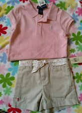 New Ralph Lauren 2-pc Polo Pink Shirt and Belted Khaki Shorts Set size 6