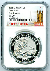 2021 GREAT BRITAIN 1OZ .9999 SILVER VALIANT DRAGON NGC MS70 FIRST RELEASES
