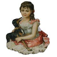 Victorian Scrap Vintage Die Cut LARGE Edwardian Dress Pretty Girl Dog Doberman?