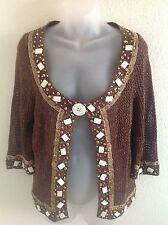 Just B Beautiful Embellished Mixed Media Metallic Brown Bolero Cardigan Size L