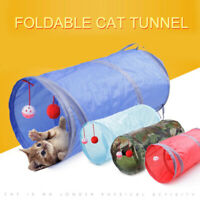 1x Funny Pet Cat Kitten Tunnel Toy Playing Tube With Tinkle Bell & Plush Ball #k