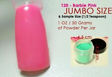 120 Barbie Pink Solid Color Acrylic Nail Powder Jumbo and Sample Sizes