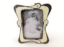 Photo Frame, Desktop or Shelf ~ Yellow Waves, Metallic Trim, Polyresin, #1830
