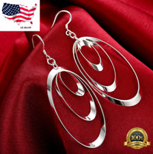 Womens 925 Sterling Silver 3 Hoop Long Drop Dangle Charm Earrings #E55