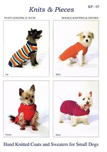 KP07 Coats and Sweaters for small dogs dog coat KNITTING PATTERN