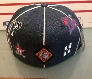 NEGRO LEAGUE BASEBALL TEAM LOGOS FITTED MENS BRIMLESS HAT SZ 7 7/8 NWT
