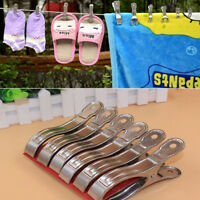 20Pcs Stainless Steel Clothes Pegs Hanging Pins Clips Laundry Windproof Clamp HG