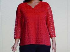 ALFRED DUNNER Woman Red OUT OF THE BLUE LACE TEE Women's 3/4 Sleeve Top Sz 1X