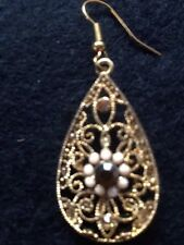 Cache Gold Filigree Tear Drop Shape Bronze Brown Crystal Earring Hook
